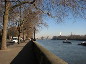 Running along the Thames Embankment